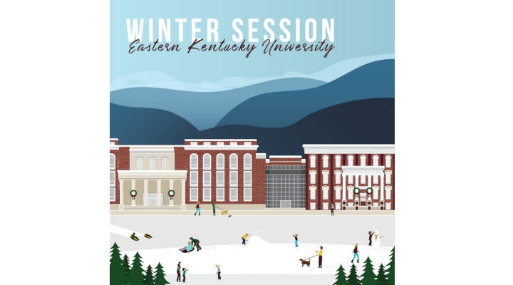Winter Session Eastern Kentucky University graphic snow scene with buildings